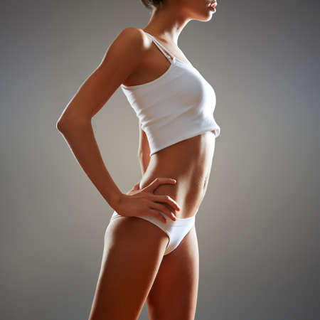 body line: Beautiful slim body of woman in lingerie