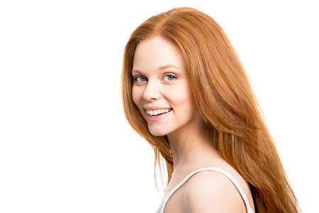 hair back: Nice woman with beautiful red hair