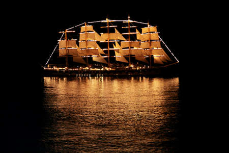 schooner: Sailing ship in the night sea