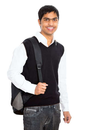 indian student: Indian young student carrying books on white