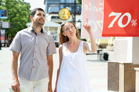 Young couple walking around the city photo