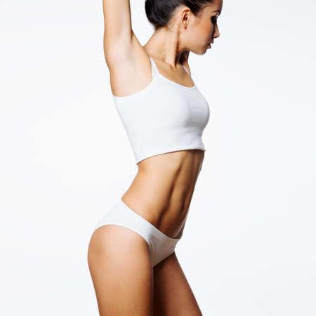 Beautiful slim body of woman in lingerie