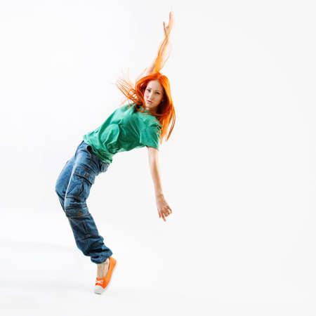 Modern style female dancer on white background Stock fotó