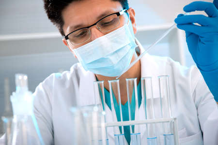 medical scientist: Young medical scientist working in laboratory