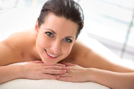 aroma therapy: Portrait of young beautiful woman in spa environment