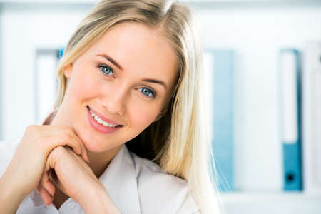 one female: Close up portrait of smiling business woman Stock Photo