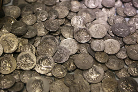Lot of antique Roman coins. Background and texture