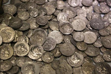 Lot van antieke Romeinse munten. Achtergrond en textuur Stockfoto