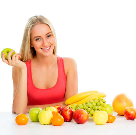 potherbs: Smiling pretty woman with fruits