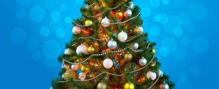 illuminated: Christmas balls on the Christmas tree
