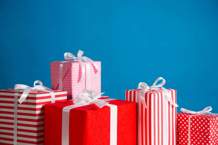 gift boxes: Gift boxes on the blue background