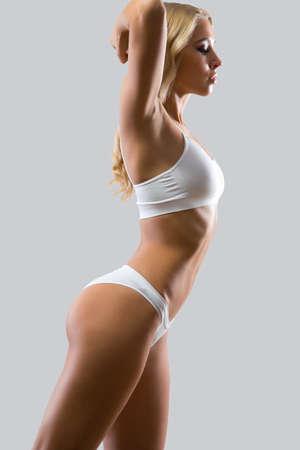 femmes nues sexy: Fitness femme avec un beau corps Banque d'images