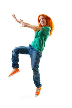 hip hop girl: Modern style female dancer on white background Stock Photo