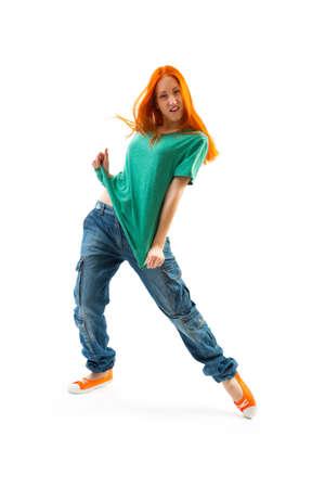 tänzerin: Moderne Tänzerin auf weißem Hintergrund Lizenzfreie Bilder