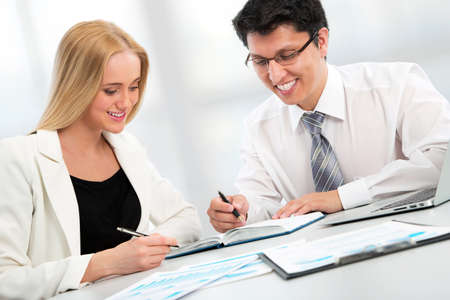 teamwork business: Business people working with laptop in an office Stock Photo