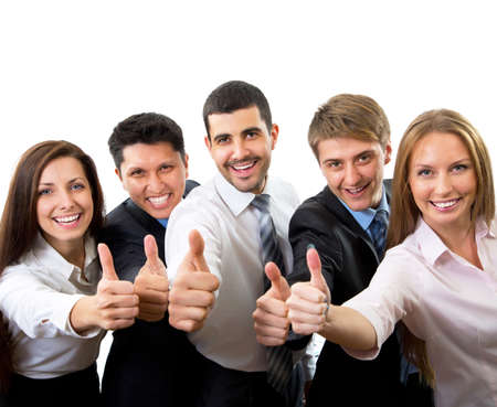 young executives: Successful young business people showing thumbs up sign