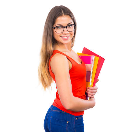 women in jeans: Portrait of young happy girl student Stock Photo