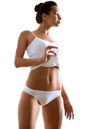 undershirt: Beautiful woman with perfect figure in underwear