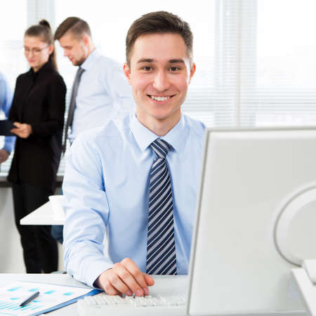 Businessman working with computer in an office Stock Photo