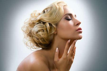 Close-up portrait Beautiful sexy woman Stock Photo