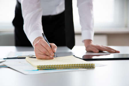 Businessman working in an office. Close-up Stock Photo