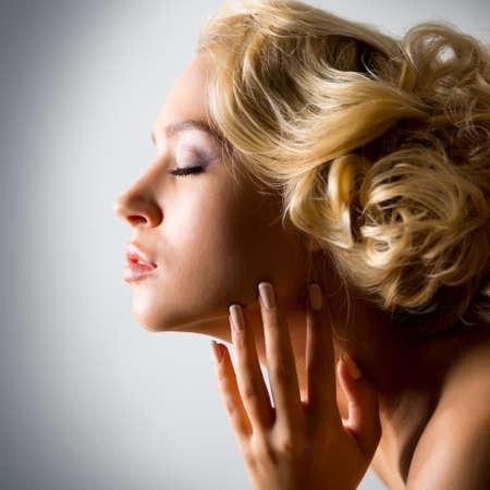 Close-up portrait Beautiful sexy woman Фото со стока