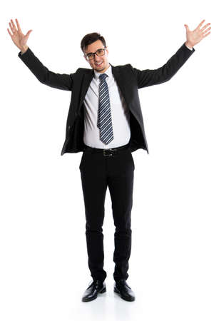白い背景を示す若いビジネスマン