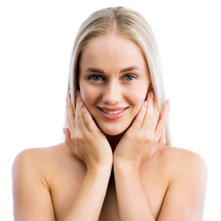 Face of beautiful young woman with clean fresh skin Stock Photo