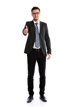 Young businessman showing a white background