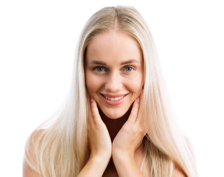Face of young woman with ? beautiful long hair Stock Photo