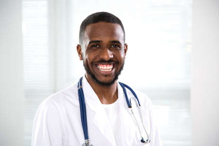 Portrait of happy africanamerican doctor in a hospital