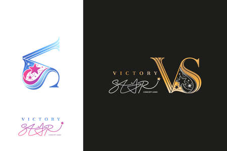 Victory Star Logo company, VS monogram. VS icon business. VS initial wedding, sign corporate with variation three designs of minimal, elegance, colourful for fashion, jewelry, boutique, logo concept