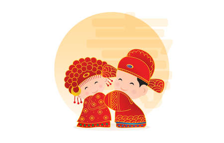 Chinese wedding couple, Chinese wedding cartoon, Traditional Chinese Wedding,Chinese bride and groom cartoon wedding in traditional red dress holding hands and greeting for chinese new year collection