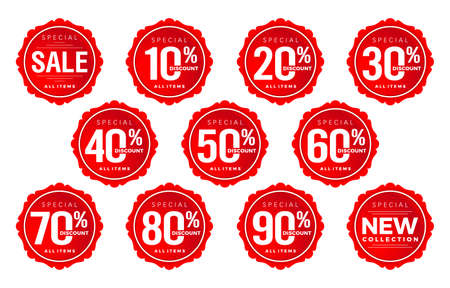 Discount sticker number, discount number set, tag number discount vector set, red label sale numbers collection . For Advertising, shopping festival, promotion in store, low price offer, & web banner Ilustração Vetorial