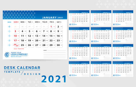 Desk Calendar 2021 design template with Chinese calendar day, date. Gradient blue minimal and clean layout. Corporate design planner template. Week Starts on Sunday. Set of 12 Months. Ready for print.