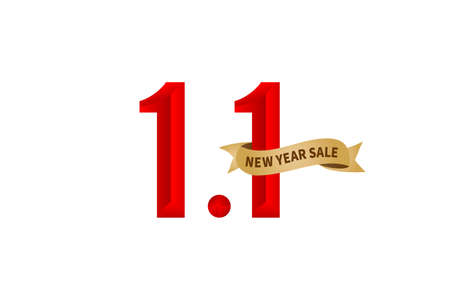 1.1 sale, 1.1 online sale, New Year Sale gradient red with golden ribbon isolated white background for poster or flyer design, social media banner, online shop label promotion, web banner.