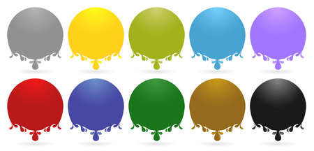 Label drops ellipse models with ten variation color isolated white backgrounds, liquids drops. Colorful droplets of oil, honey, ink paint, olive, water, lubricant and blood drop realistic vector set.