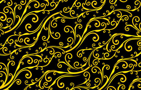 Floral seamless pattern yellowed colors with isolated black backgrounds, black and yellow patterns background. applicable for banners, fabric print, textile, agency, and printing paper for business. Vecteurs
