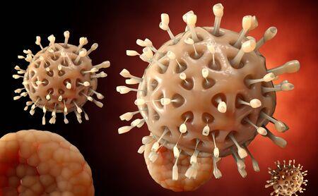 antiviral: Virus. Bacteria.Viruses in infected organism , viral disease epidemic. 3d render