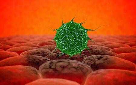 epidemic: Virus. Bacteria.Viruses in infected organism , viral disease epidemic. 3d render