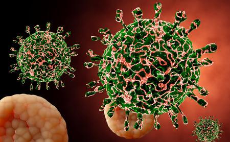 infected: Virus. Bacteria.Viruses in infected organism , viral disease epidemic. 3d render
