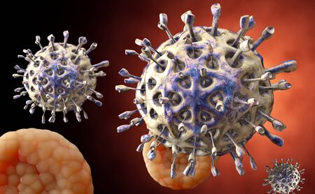 organism: Virus. Bacteria.Viruses in infected organism , viral disease epidemic. 3d render