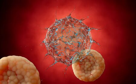 viral infection: Virus. Bacteria.Viruses in infected organism , viral disease epidemic. 3d render