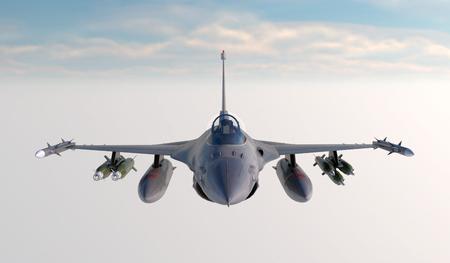 F-16、アメリカ軍の戦闘機。ジェット機。雲の中を飛ぶ。