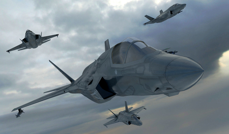F 35 , american military fighter plane.Jet plane. Fly in clouds.