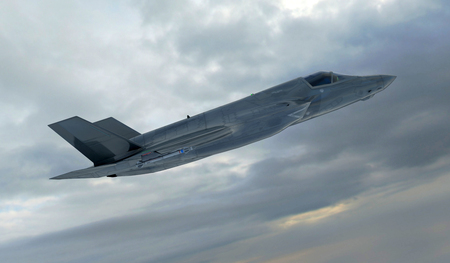 afterburner: F 35 , american military fighter plane.Jet plane. Fly in clouds.
