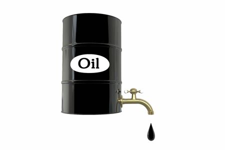 economical: Barrel of oil on white background. business concept. Dollars.