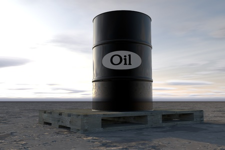 economical: Barrel of oil in desert . concept  illustration.