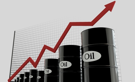 oil barrels and a financial chart on white background.  price oil up.  business concept.