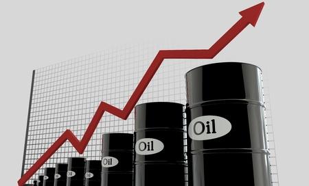 huile: barils de pétrole et un tableau financier sur fond blanc. huile prix vers le haut. Concept d'affaire. Banque d'images
